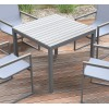 Armen Living Bistro Outdoor Patio Dining Table in Grey Powder Coated Finish with Grey Wood Top