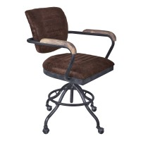Brice Modern Office Chair in Industrial Grey Finish and Brown Fabric with Pine Wood