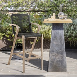 "Brielle 26"" Outdoor Light Eucalyptus Wood and Charcoal Rope Bar Stool"