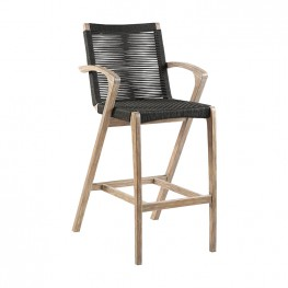 "Brielle 30"" Outdoor Light Eucalyptus Wood and Charcoal Rope Bar Stool"