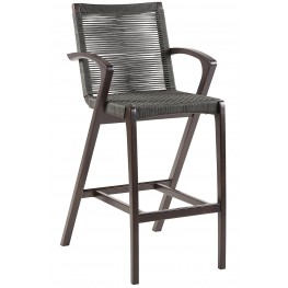 "Brielle 26"" Outdoor Dark Eucalyptus Wood and Grey Rope Bar Stool"