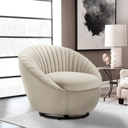 Bella Beige Velvet Swivel Accent Chair