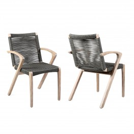 Brielle Outdoor Light Eucalyptus Wood and Charcoal Rope Dining Chairs - Set of 2