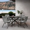 Brielle Outdoor Dark Eucalyptus Wood and Grey Rope Dining Chairs - Set of 2