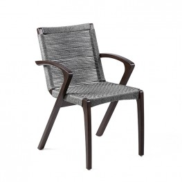 Brielle Dark Eucalyptus and Rope Outdoor Patio Dining Chairs in Earth Finish – Set of 2