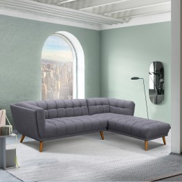 Belina Mid-Century Sectional in Champagne Finish and Dark Grey Fabric with Rubber Wood