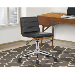 Armen Living Bowie Mid-Century Office Chair in Chrome finish with Black Faux Leather and Walnut Veneer Back