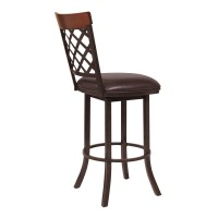 "Armen Living Bree 26"" Counter Height Barstool in Auburn Bay with Ford Brown Faux Leather and Sedona Wood"