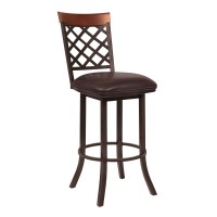 "Armen Living Bree 30"" Bar Height Barstool in Auburn Bay with Ford Brown Faux Leather and Sedona Wood"