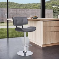 Brooklyn Adjustable Swivel Grey Faux Leather and Black Wood Bar Stool with Chrome Base