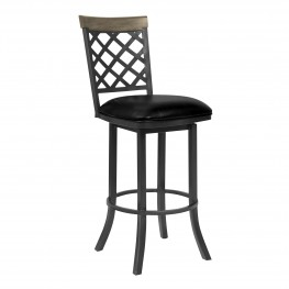 "Bree 30"" Bar Height Barstool in Mineral Finish with Vintage Black Faux Leather and Grey Walnut"