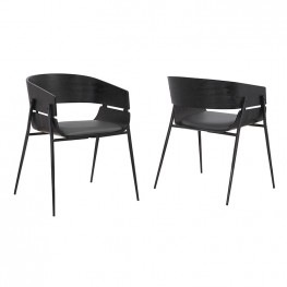 Bronte Wood and Metal Contemporary Grey Upholstered Dining Room Chairs Set of 2