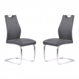 Armen Living Bravo Contemporary Dining Chair in Gray Faux Leather and Brushed Stainless Steel Finish - Set of 2