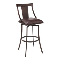 """Brisbane Contemporary 30"""" Bar Height Barstool in Auburn Bay Finish and Brown Faux Leather"""