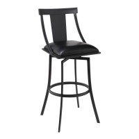 """Brisbane Contemporary 26"""" Counter Height Barstool in Matte Black Finish and Black Faux Leather"""