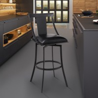 """Brisbane Contemporary 30"""" Bar Height Barstool in Matte Black Finish and Black Faux Leather"""