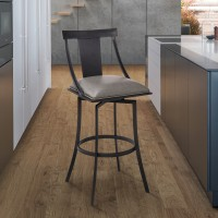 """Brisbane Contemporary 26"""" Counter Height Barstool in Matte Black Finish and Vintage Grey Faux Leather"""