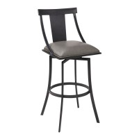 """Brisbane Contemporary 30"""" Bar Height Barstool in Matte Black Finish and Vintage Grey Faux Leather"""