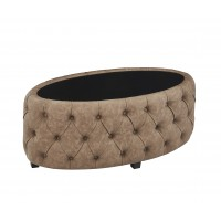 Armen Living Blossom Contemporary Ottoman in Brown Faux Leather