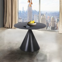 Armen Living Brittany Contemporary Dining Table in Grey Matte Finish and Grey Glass Top