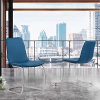 Armen Living Brittany Contemporary Dining Chair in Brushed Stainless Steel Finish and Blue Faux Leather - Set of 2