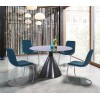 Brittany Contemporary Dining Chair in Brushed Stainless Steel Finish and Blue Faux Leather - Set of 2