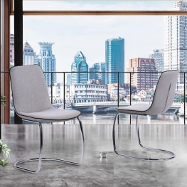 Brittany Contemporary Dining Chair in Brushed Stainless Steel Finish and Pewter Fabric - Set of 2