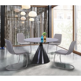Armen Living Brittany Contemporary Dining Chair in Brushed Stainless Steel Finish and Pewter Fabric - Set of 2