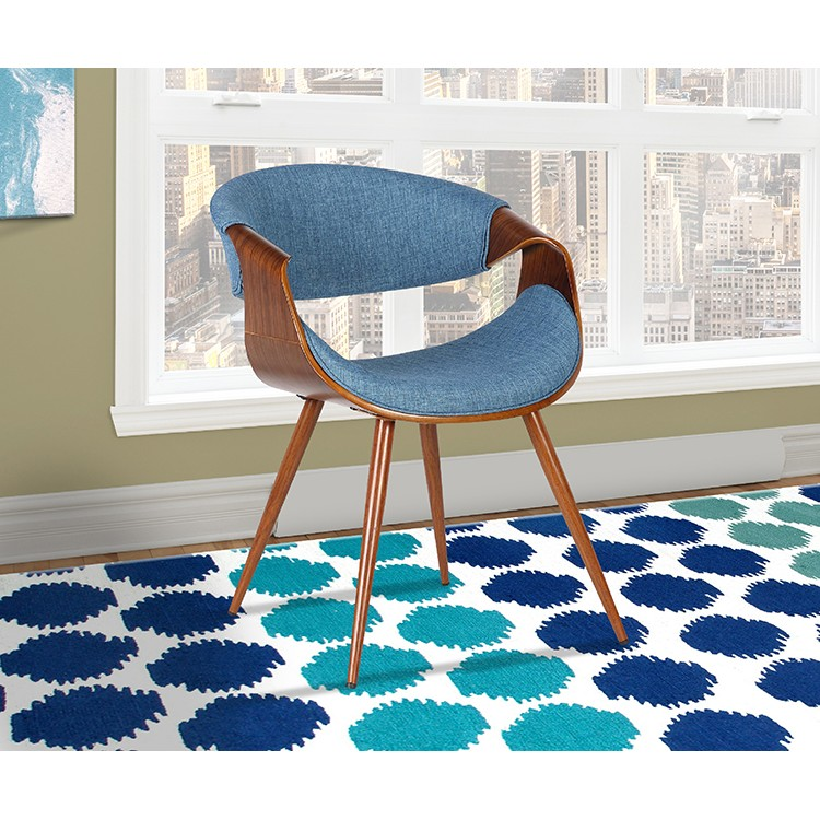 Armen Living Butterfly Mid Century Dining Chair In Walnut Finish And Blue Fabric