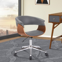 Armen Living Bellevue Mid-Century Office Chair in Chrome Finish with Grey Faux Leather and Walnut Veneer