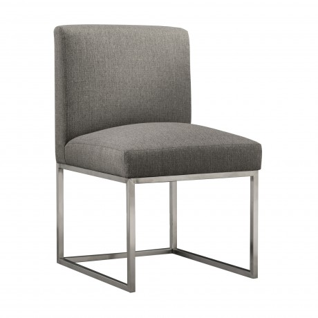 Bailey Contemporary Dining Chair in Brushed Stainless Steel Finish with Grey Fabric