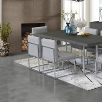 Armen Living Bailey Contemporary Dining Chair in Brushed Stainless Steel Finish with Grey Fabric