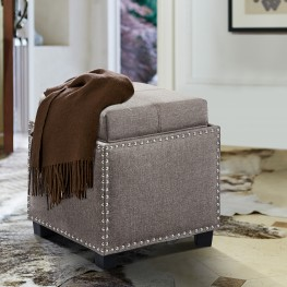 Armen Living Blaze Contemporary Ottoman in Brown Linen with Wood Legs