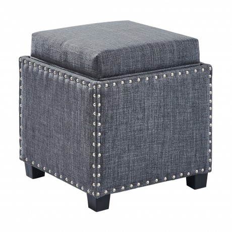 Blaze Contemporary Ottoman in Slate Grey Linen with Wood Legs