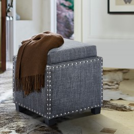 Armen Living Blaze Contemporary Ottoman in Slate Grey Linen with Wood Legs