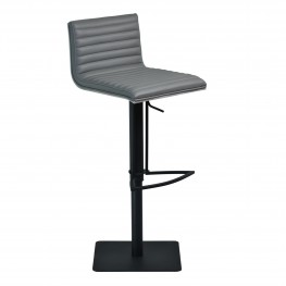 Armen Living Cafe Adjustable Swivel Barstool in Gray Faux Leather with Black Metal Finish and Gray Walnut Veneer Back