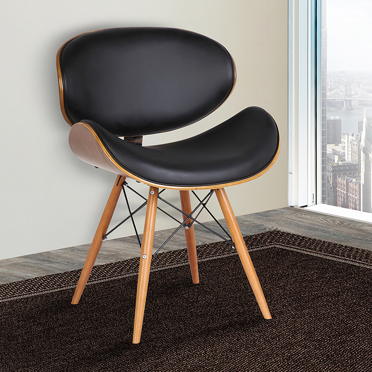 Armen Living Cassie Mid Century Dining Chair In Walnut Wood And Black Faux Leather