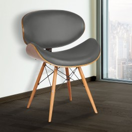 Armen Living Cassie Mid-Century Dining Chair in Walnut Wood and Gray Faux Leather