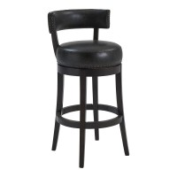"Corbin 26"" Counter Height Barstool in Espresso Finish and Onyx Faux Leather"