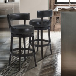 "Corbin 30"" Bar Height Barstool in Espresso Finish and Onyx Faux Leather"