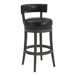 "Corbin 26"" Counter Height Barstool in American Grey Finish and Onyx Faux Leather"