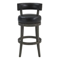 """Corbin 26"""" Counter Height Barstool in American Grey Finish and Onyx Faux Leather"""