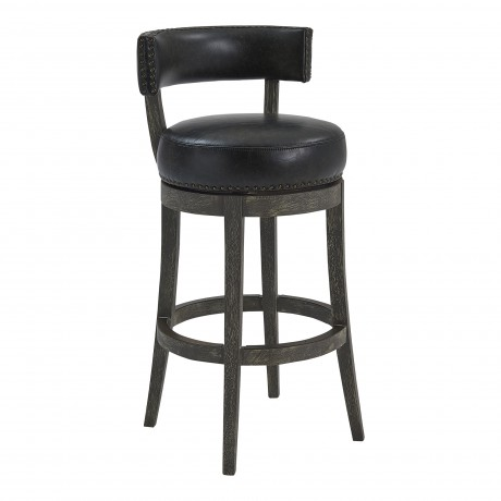 "Corbin 30"" Bar Height Barstool in American Grey Finish and Onyx Faux Leather"