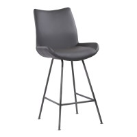 "Armen Living Coronado Contemporary 26"" Counter Height Barstool in Brushed Grey Powder Coated Finish and Grey Faux Leather"