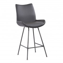 "Coronado Contemporary 26"" Counter Height Barstool in Brushed Grey Powder Coated Finish and Grey Faux Leather"
