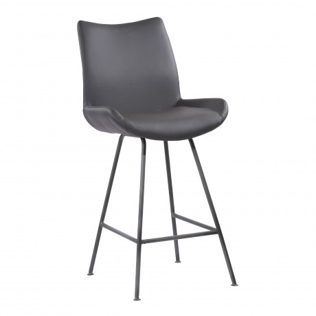 """Coronado Contemporary 26"""" Counter Height Barstool in Brushed Grey Powder Coated Finish and Grey Faux Leather"""