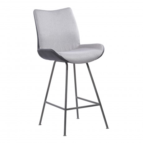 "Coronado Contemporary 26"" Counter Height Barstool in Brushed Grey Powder Coated Finish and Pewter Fabric"