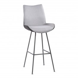 "Armen Living Coronado Contemporary 30"" Bar Height Barstool in Brushed Grey Powder Coated Finish and Pewter Fabric"