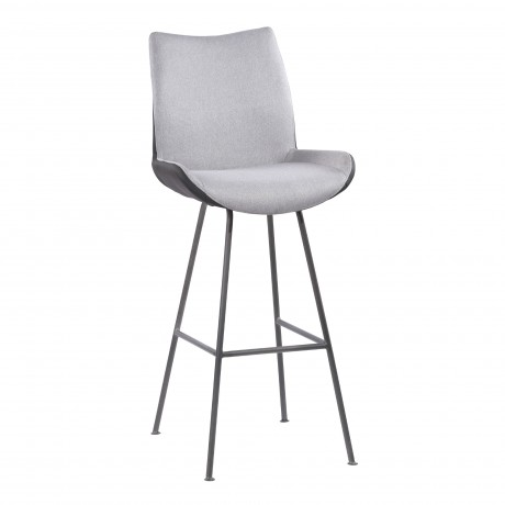 "Coronado Contemporary 30"" Bar Height Barstool in Brushed Grey Powder Coated Finish and Pewter Fabric"