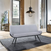 Armen Living Coronado Contemporary Bench in Brushed Gray Powder Coated Finish and Gray Fabric